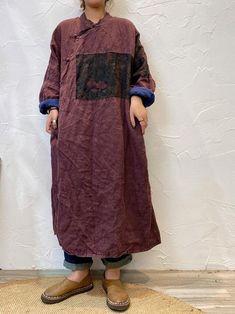 Linen midi dress for women, Autumn dress, large size robe, Oversize dresses, kaftan