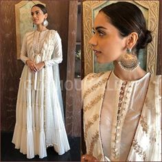 Manushi Chhillar in Monika Nidii anarkali, Motifs jhumkis & Shilpasutra juttis! Anarkali Dress, Pakistani Dresses, Indian Dresses, Indian Outfits, White Anarkali, Indian Clothes, Anarkali Suits, Lehenga, Indian Attire