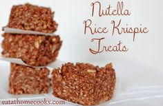 Nutella Rice Krispie Treats - sweet, chocolatey and chewy.