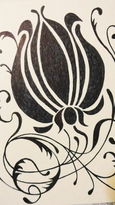 Gothic Art Nouveau Art Deco Leaf and Floral Card original artwork. $6.00, via Etsy.