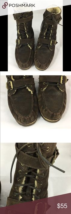 Ralph Lauren Polo Boots 10 Brand: Ralph Lauren Polo  Color: Dark Brown  Size: 10 D    Style: Tall Suede Boots with Double Buckle Closure with NATURAL Shearling Lamb Trim  Material: Suede  Condition: Excellent    All Items come from a Non-Smoking & Pet Friendly Home Polo by Ralph Lauren Shoes Boots