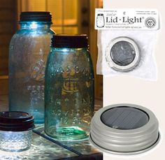 How cool are these! Use these lights outside or inside. A water-resistant solar cell, rechargeable battery, and bright LED are all nice and tidy, tucked inside a standard size mason jar lid. Great for