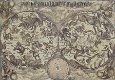 Planispherium Celeste by Vali Irina Ciobanu Map Painting, Old Maps, Painting Leather, Tall Ships, Vintage World Maps, History, Historia, Old Cards