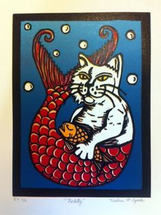"Reduction Linoleum Print ""Merkitty"" by Kristina Ayala of Pufferfish Press - Pacifica, CA"