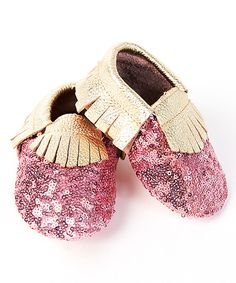 Another great find on #zulily! Boutique Only Pink & Cream Sequin Fringe Leather Booties by Boutique Only #zulilyfinds