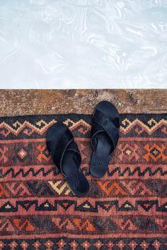 Ancient Greek Sandals - black open toe slides