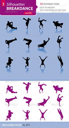 Breakdance silhouettes Set3 - Sports/Activity Conceptual