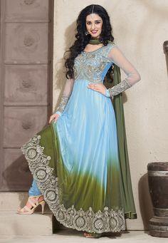 Light #Blue Net Abaya Style #Churidar Kameez Online Shopping: KGB2314