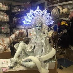 At Roostein mannequin factory in Brooklyn, mannequins taken to Fantasy are made into giant Christmas Ornaments for last years Sak's holiday Windows  - Barbara Graff, Rootstein artist.