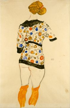 Egon Schiele (Austrian, 1890-1918), Standing Woman in a Patterned Blouse, 1912. Graphite and gouache on paper, 46.35 x 30.48 cm.
