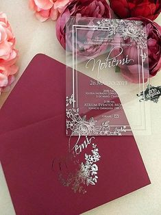 Matte cardboard envelope, with foil, printed acrylic card, at least 50 pieces - - Wedding Invitations With Pictures, Acrylic Wedding Invitations, Unique Wedding Invitations, Wedding Invitation Cards, Wedding Cards, Wedding Goals, Our Wedding, Dream Wedding, Quince Invitations