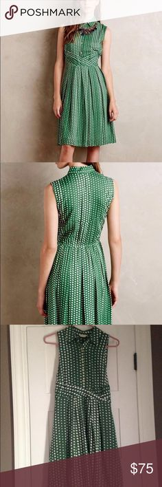 Anthropologie Tylho Dress EUC- gorgeous on and so flattering!!! Green and white dot shirtdress by Tylho brand at Anthropologie. Anthropologie Dresses