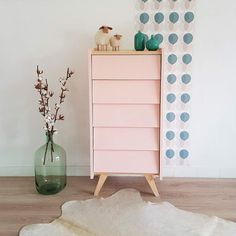 SALES - Dresser, Chiffonier, chest of drawers, storage, mid century modern, vintage design, soft pink color, model Gaspard