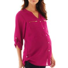 Maternity Roll-Tab Button-Front Shirt - Plus  found at @JCPenney