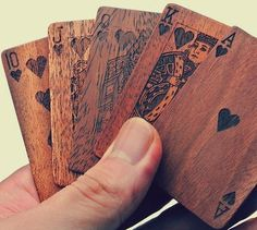 Card deck #wooden | cool product. An to receive more hand selected updates on the best & newest wooden products from around the world head over to http://www.woodlandinspiration.com/announcements/news