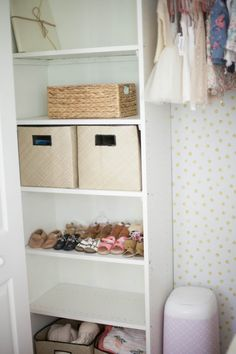 Home // Kids' Closet Makeovers & Tips for Installing Removable Wallpaper - Lauren McBride Girl Room, Child's Room, Kid Closet, Closet Space, Closet Ideas, Diy Wallpaper, Upstairs Bathrooms, Farmhouse Bedroom Decor, Decorating Your Home