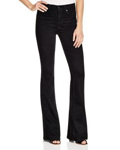 7 For All Mankind Fashion Flare Jeans in Overdye Black
