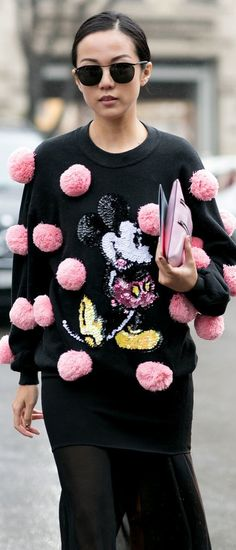 Pom poms and Mickey Mouse // MFW street style