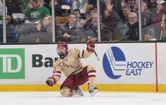 Johnny Gaudreau celebrates a goal. You can order a T-shirt of this image from BC Interruption. Hockey Shirts, Hockey Teams, Hockey Players, Johnny Gaudreau, Boston College, My Boys, Future Vision, Baseball Cards, Goal