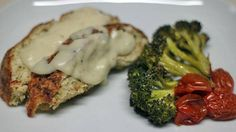 Turkey Meatloaf with Creamy Asiago Gravy, Roasted Broccoli and Tomatoes