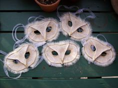 Wouldn't the children you know be the most beautiful parliament of owls in these barn owl masks from savagedryad on Etsy?