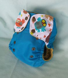 Cloth diaper Pocket with gussets Retro Owls PUL  or by MyVeryBest, $18.95