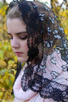 Winter-2015-Spanish-Butterfly-Black-Lace-Mantilla-Chapel-Veil-Latin-Mass-NEW