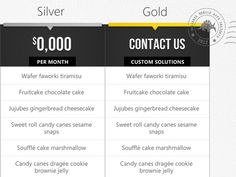 Pricing Table with custom, not-price-specific packages