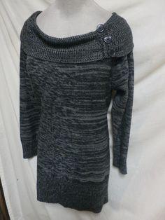 DG Euc Plus Size Gray/Black Tunic Cowl Neckline Sweater 3X #DG #TunicSweater