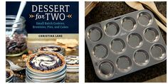 1 winner will win a copy of Dessert for Two cookbook, 2 stainless steel muffin pans, set of silicone muffin liners, naturally dyed sugar sprinkles and food coloring!
