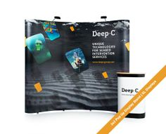 3x3 Pop Up Display Stand for Deep C - Seabed Intervention, Seabed Engineering and Fabrication. 3 x 3 Pop Up Stands: £497 including all printed graphics, pop up display hardware, case, lights, graphic wrap and folding beech top. 72 Hour UK Dispatch. XL Displays Ltd.