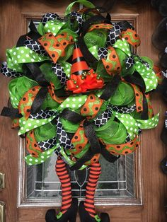 Halloween Witch Wreath With Legs Deco Mesh Ribbon Green Black Orange | eBay