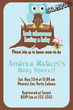 Owl Baby Shower Invitations - Get these invitations RIGHT NOW. Design yourself online, download and print IMMEDIATELY! Or choose my printing services. No software download is required. Free to try!