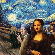 A famous painting ART selfie. The Scream by Edvard Munch, Starry Night by Vincent van Gogh, Girl With a Pearl Earring by Johannes Vermeer and Mona Lisa by Leonardo da Vinci. Memes Arte, Art Memes, Arte Pop, Pop Art, Art Du Collage, Arte Van Gogh, Van Gogh Art, Mona Lisa Parody, Ouvrages D'art