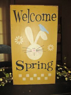 Welcome Spring Painted Wood Primitive by DaisyPatchPrimitives, $16.00