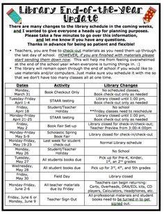 The Book Fairy-Goddess EOY Library Calendar for teachers School Library Lessons, School Library Displays, Library Lesson Plans, Middle School Libraries, Elementary School Library, Library Skills, Library Books, Elementary Schools, Library Science