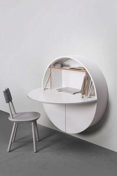 Pill, Wall Mounted Desk in White – Gessato Design Store - Home Accessories Decor Pallet Furniture, Office Furniture, Modern Furniture, Furniture Design, Furniture Ideas, Desk Ideas, Multifunctional Furniture, Hutch Ideas, Design Desk