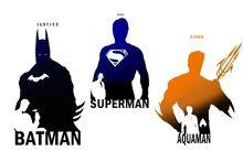 batman dc comics superman silhouettes superheroes aquaman trio Wallpaper