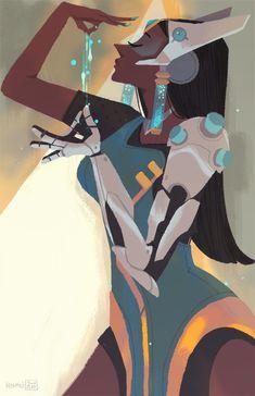 Symmetra by hyamei on DeviantArt Character Inspiration, Character Art, Character Design, Character Ideas, Overwatch Symmetra, Illustrator, Supernatural Fan Art, Disney Fan Art, Thing 1