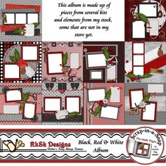 Digital Scrapbooking RkRk's 10 Page Black/Red/White SIAS Album  These pages were made using several elements from my own inventory.  Some elements are not in my store.   This is a set of 10--12x12 Scrap-in-a-Snap  premade pages for the busy scrapbooker.  Just add you photos, journal and your done.