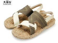 Nuevos 2015 hombres del verano de cáñamo deslizadores de las sandalias diseñador de la marca hechos a mano zapatillas de cáñamo luz absorbente del sudor zapatos(China (Mainland))