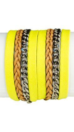 Double Wrap Bracelet - Neon Yellow