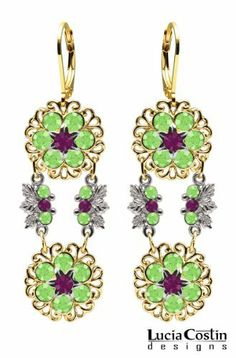 Flower Shaped Dangle Earrings by Lucia Costin with Violet, Light Green Swarovski Crystals, Lace Details, 6 Petal Flowers and Fancy Leaf Elements; 14K Yellow Gold over .925 Sterling Silver; Handmade in USA Lucia Costin. $87.00. Dangle ornaments accented with floral design. Mesmerizing enough to wear on special occasions, but durable enough to be worn daily. Ornate with purple and peridot Swarovski crystals. Unique jewelry handmade in USA. Lucia Costin flower shaped drop earrings