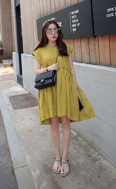 Miamiyu K - Miamasvin Loose Fit Pleated Dress, Miamasvin Embellished T Strap Sandals - Mustard