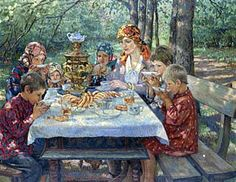 """On a visit to the Teacher"". Nikolay Bogdanov-Belsky (1868-1945), Russian painter."