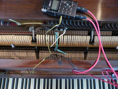 Whilst abroad in Israel, I found my hotel room equipped with a vintage upright piano. After a few attempts to create a conventional upright piano recording, the plan was aborted due to outside noise. Instead, I jammed paperclips, seashells, leaves and pieces of plastic into the piano strings and recorded two octaves of prepared piano tones and noises.