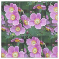 Pink Japanese Anemones Floral Fabric - floral style flower flowers stylish diy personalize