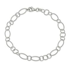 10 Rhodium Plated 925 Sterling Silver Shiny Edged Bead Chain Anklet w// Lobster Clasp