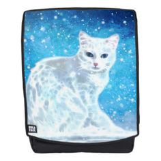 Abstract white cat backpack