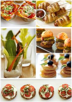 Top Row: Petite Lasagna & Mini Hot Dog Skewers/Middle: Crudité Cups, Mini Cheeseburgers and Mini Pancakes. Last Row: Mini Pizza Bites
